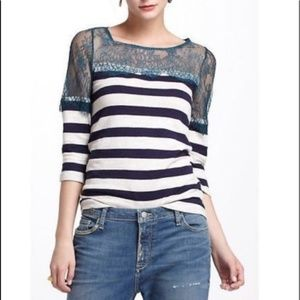 Anthropologie Deletta Lace and Stripe Top, Size M